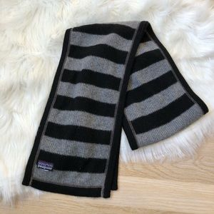 Patagonia Wool Striped Scarf Grey Black